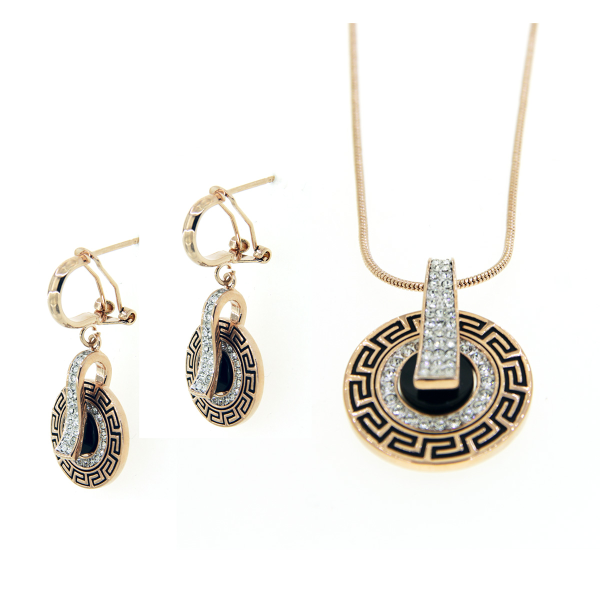 5035A Rose Gold Plated Pendant and Earrings & Chain Set